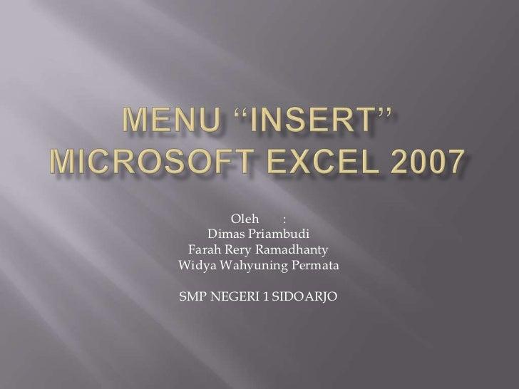 Menu 'Insert' di Microsoft Excel 2007