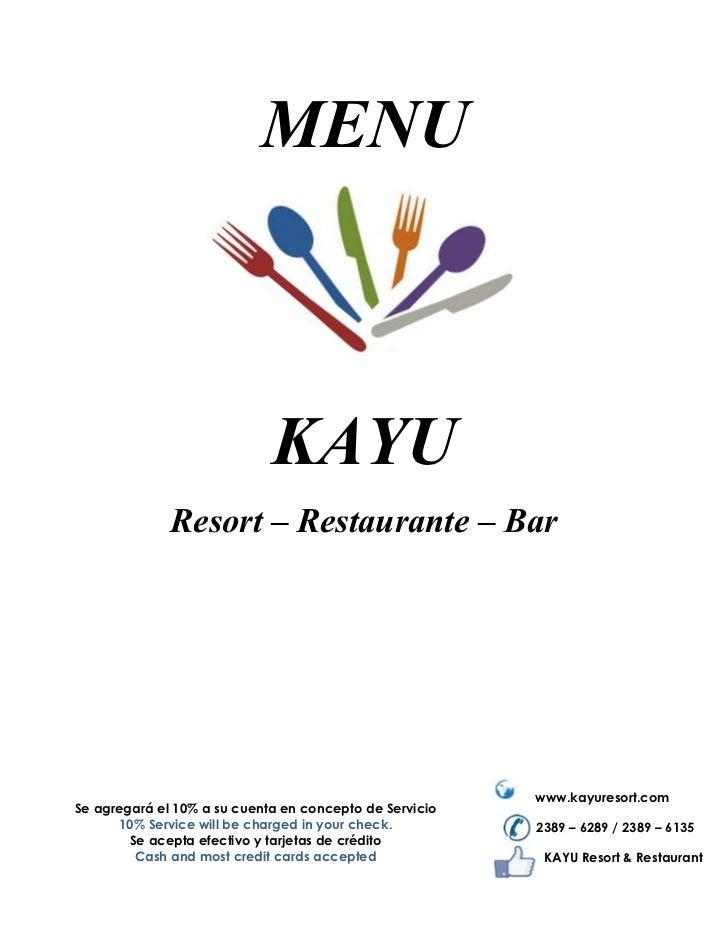 Menu Kayu Resort & Restaurant