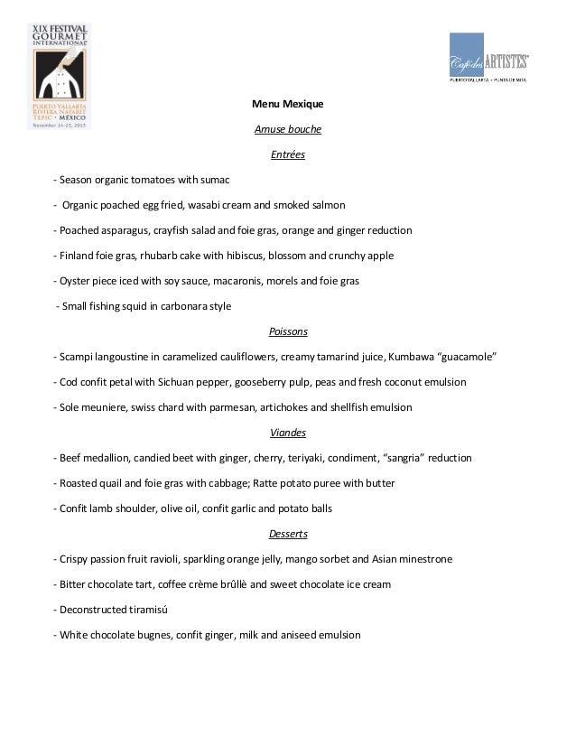 Menu Festival Gourmet 2013 Ghest Chef Florent Courriol - English
