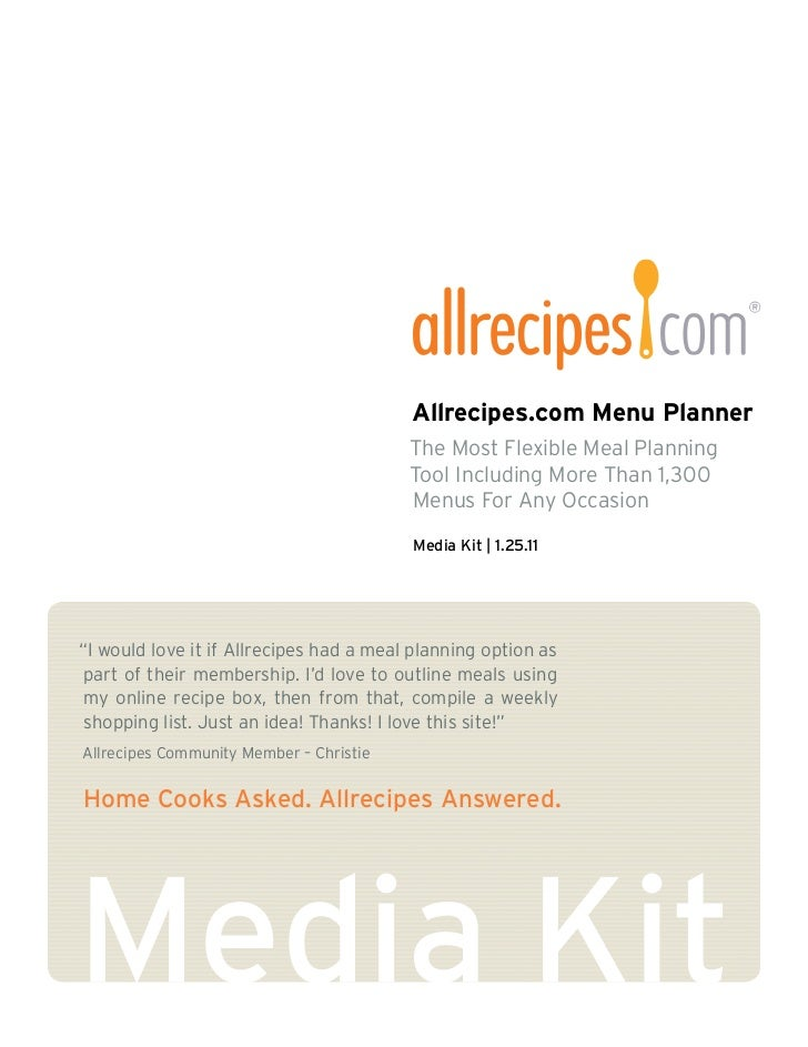 Allrecipes' Menu Planner Media Kit