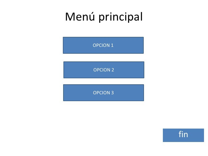 Menú principal     OPCION 1     OPCION 2     OPCION 3                 fin