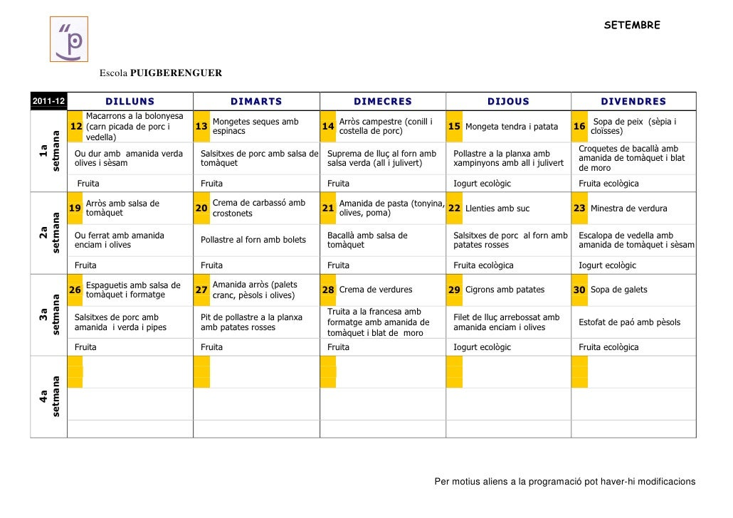 SETEMBRE                     Escola PUIGBERENGUER2011-12              DILLUNS                        DIMARTS              ...