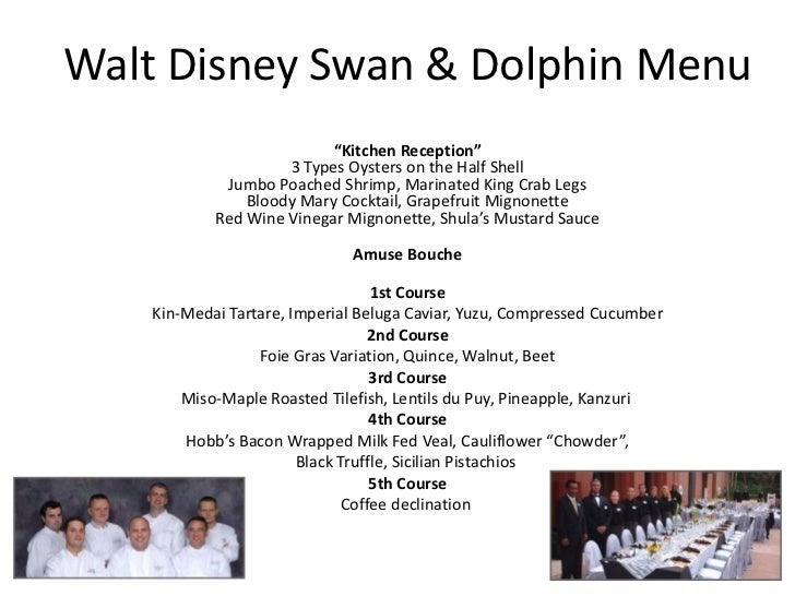 "Walt Disney Swan & Dolphin Menu                           ""Kitchen Reception""                     3 Types Oysters on the H..."