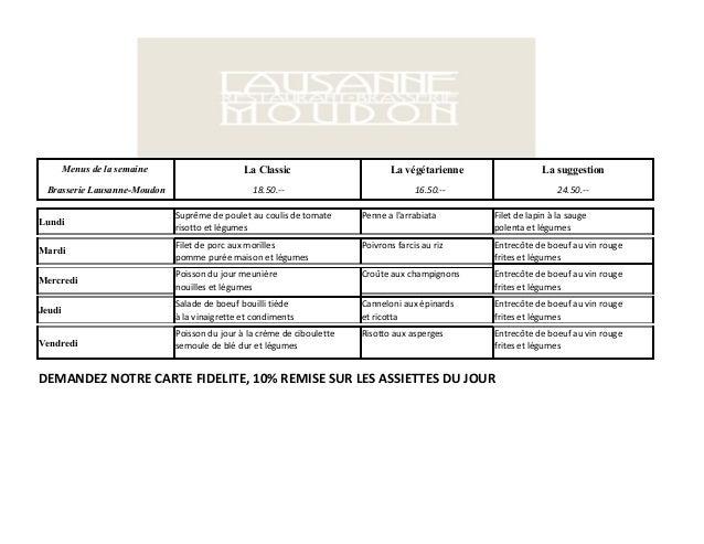 Brasserie Lausanne-Moudon - Menus semaine 24 juin 28 juin
