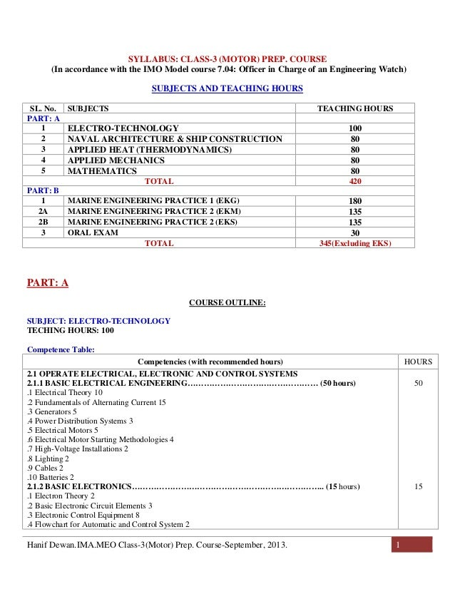 Department of Shipping, Bangladesh approved MEO Class-3 CoC Exam Preparatory Course as per IMO Model Course 7.04