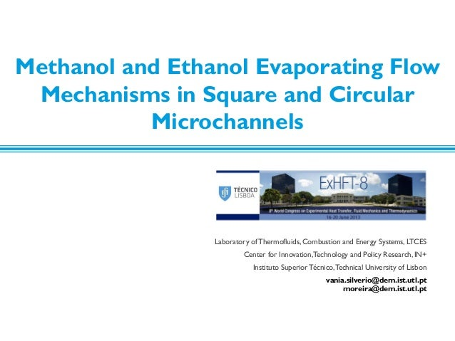 MeOH and EtOH evaporating flow mechanisms in square and circular microchannels