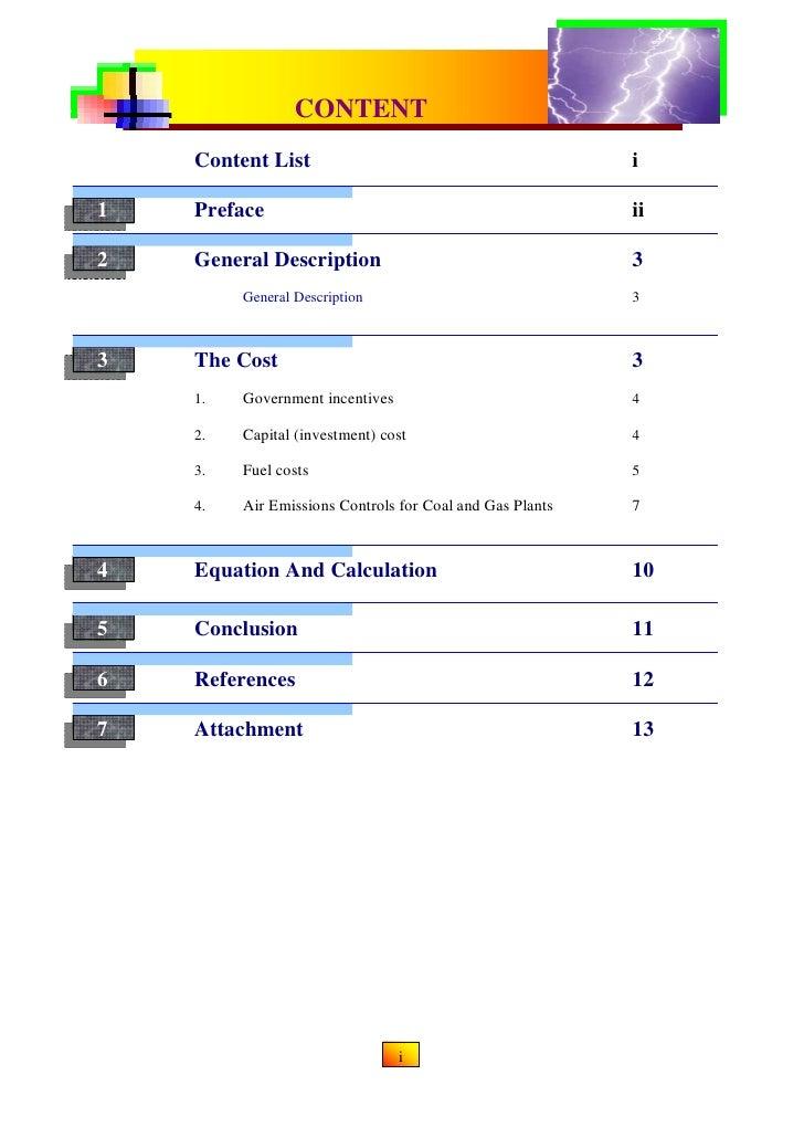 CONTENTCONVENTIONAL & RENEWABLE POWER PLANT              Content List                                            i1       ...