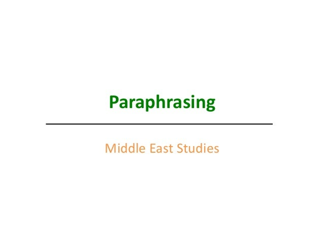 Middle East Paraphrase 2013