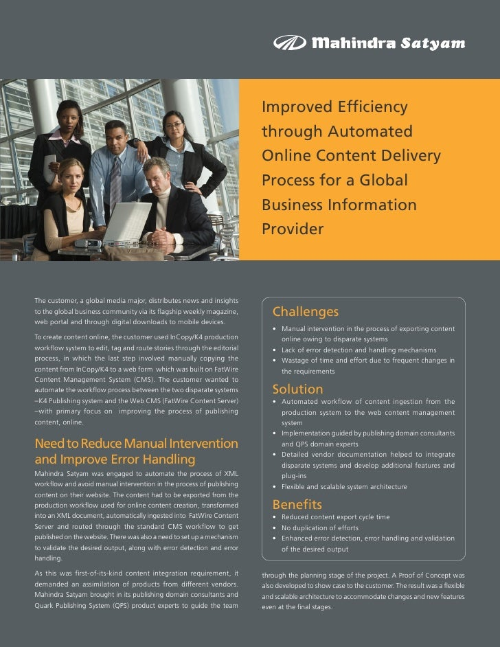 Improved Efficiency through Automated Online Content Delivery Process for a Global Business Information Provider