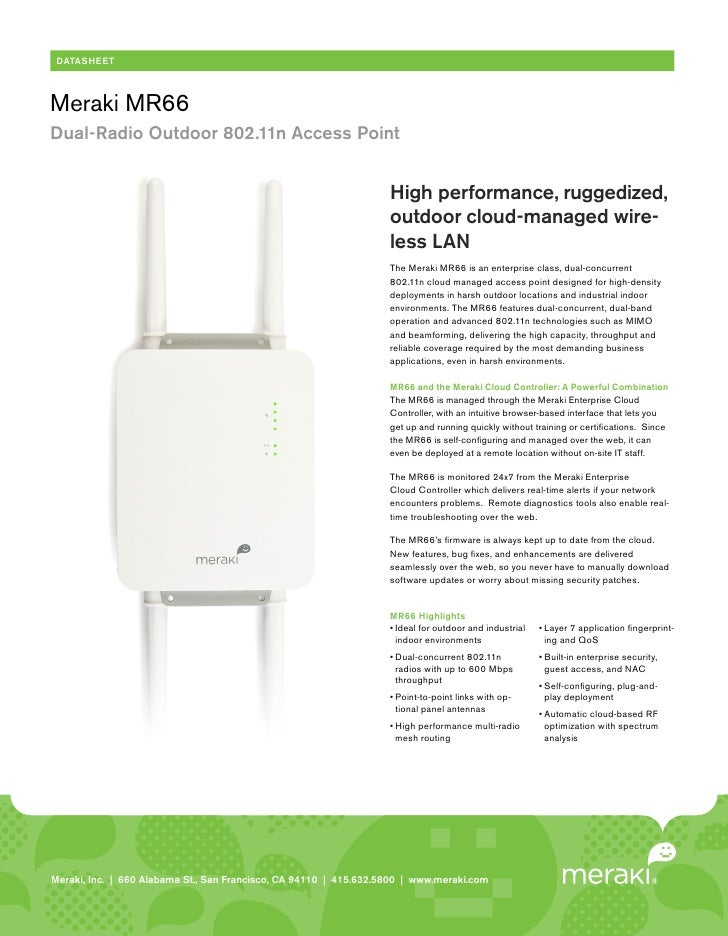 DATASHEETMeraki MR66Dual-Radio Outdoor 802.11n Access Point                                                               ...