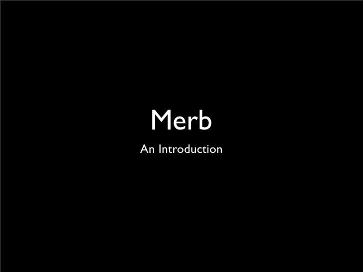 Merb An Introduction