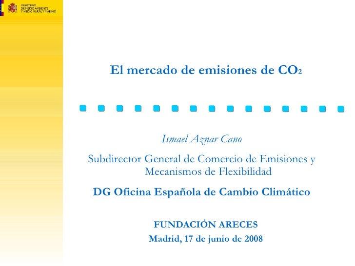 El mercado de emisiones de CO 2 FUNDACIÓN ARECES Madrid, 17 de junio de 2008 Ismael Aznar Cano Subdirector General de Come...