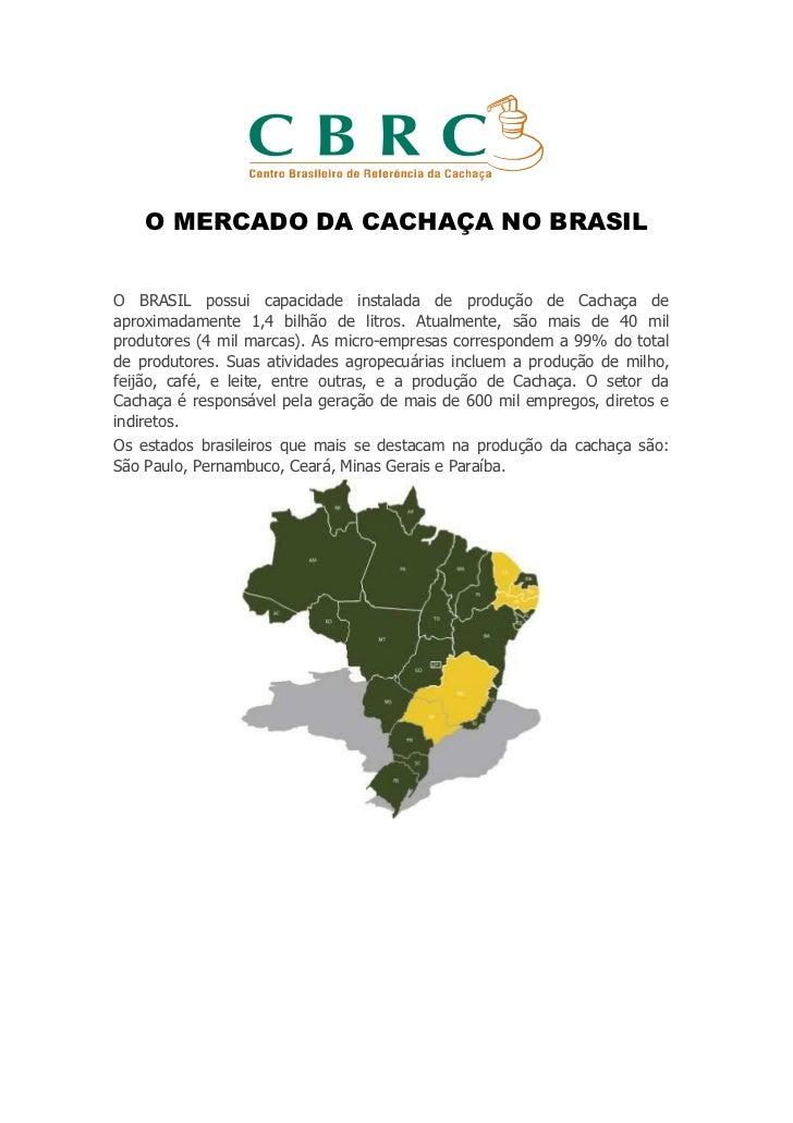 O MERCADO DA CACHAÇA NO BRASILO BRASIL possui capacidade instalada de produção de Cachaça deaproximadamente 1,4 bilhão de ...