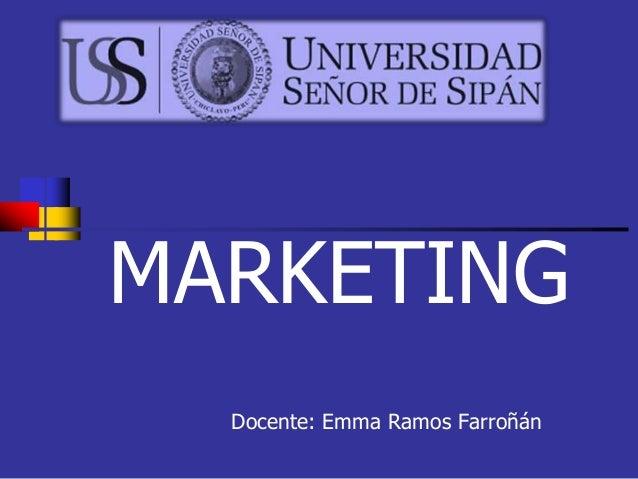 MARKETING Docente: Emma Ramos Farroñán