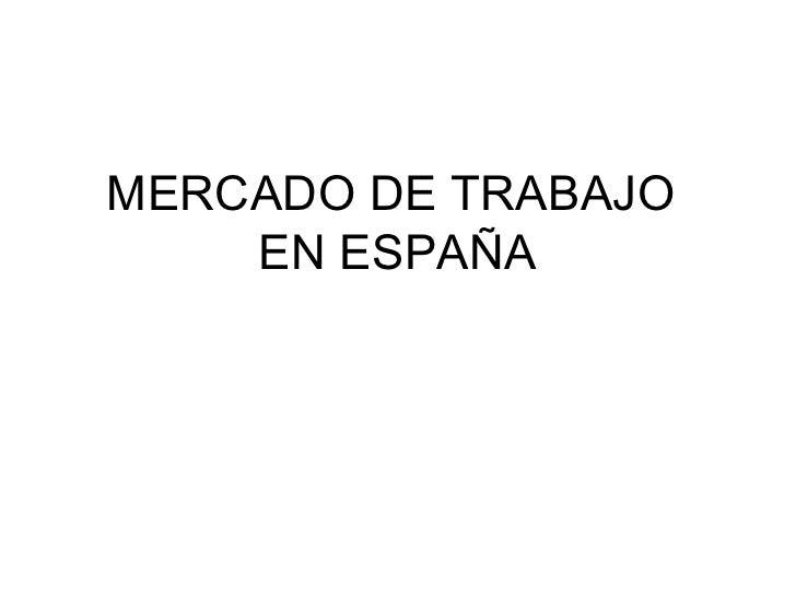 Mercado laboral en España