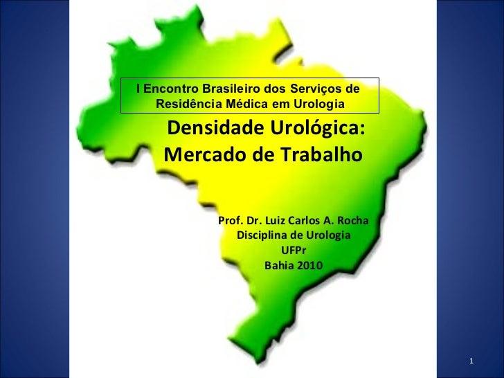 Densidade Urológica: Mercado de Trabalho  Prof. Dr. Luiz Carlos A. Rocha Disciplina de Urologia UFPr Bahia 2010 I Encontro...