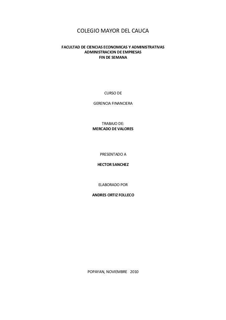 COLEGIO MAYOR DEL CAUCAFACULTAD DE CIENCIAS ECONOMICAS Y ADMINISTRATIVAS          ADMINISTRACION DE EMPRESAS              ...