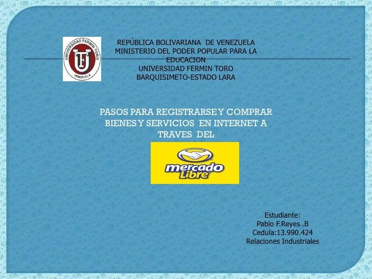REPÚBLICA BOLIVARIANA DE VENEZUELA  MINISTERIO DEL PODER POPULAR PARA LA               EDUCACION        UNIVERSIDAD FERMIN...