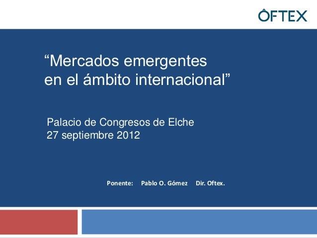 Mercados emergentes en el ambito internacional