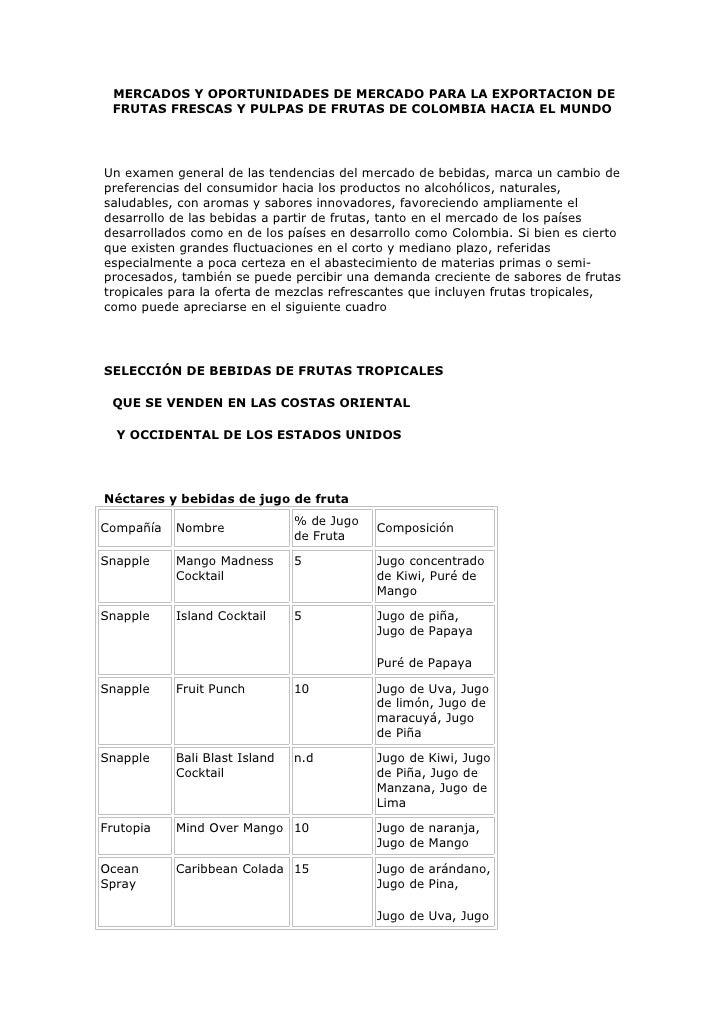 MERCADOS Y OPORTUNIDADES DE MERCADO PARA LA EXPORTACION DE  FRUTAS FRESCAS Y PULPAS DE FRUTAS DE COLOMBIA HACIA EL MUNDO  ...