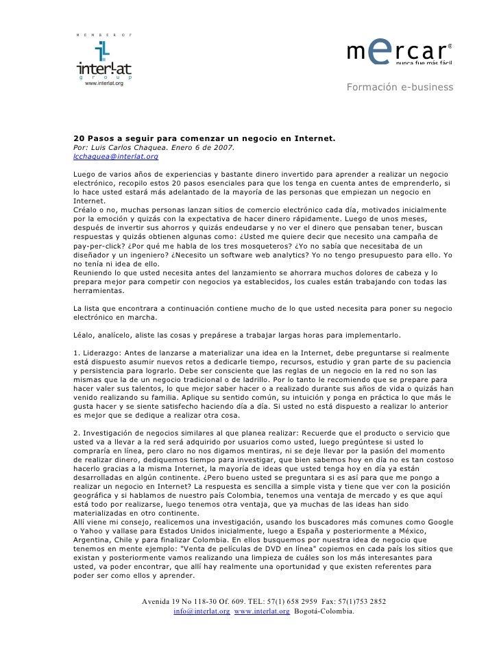 Mercar.Org. 20 Pasos A Seguir Para Comenzar Un Negocio En Internet 2007