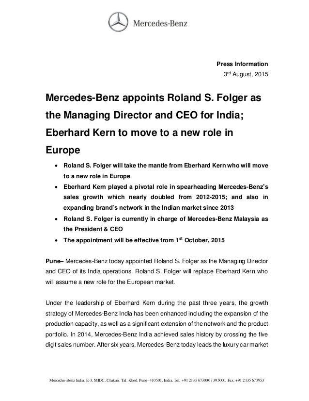 Mercedes benz india new md ceo press release for Mercedes benz press release