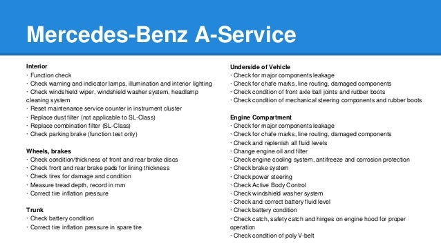 Mercedes Benz A-Service and B-Service