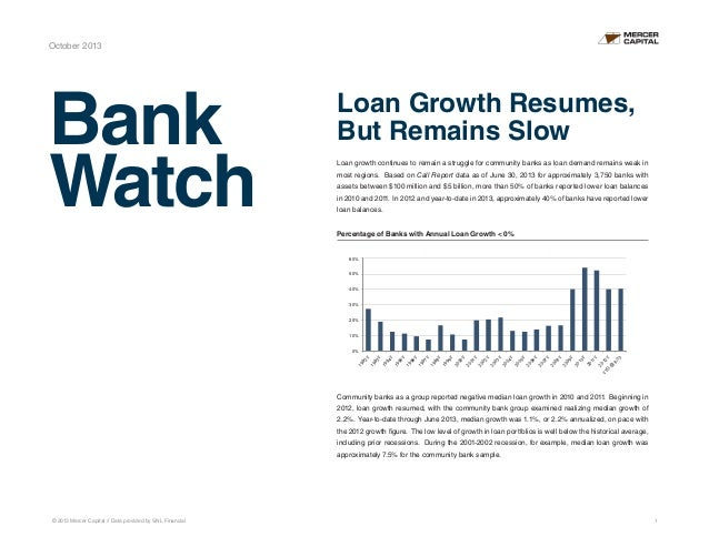Mercer Capital's BankWatch | October 2013 | Loan Growth Resumes, Remains Slow