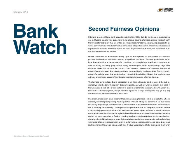 © 2014 Mercer Capital // Data provided by SNL Financial 1 Bank Watch February 2014 Second Fairness Opinions Following a se...
