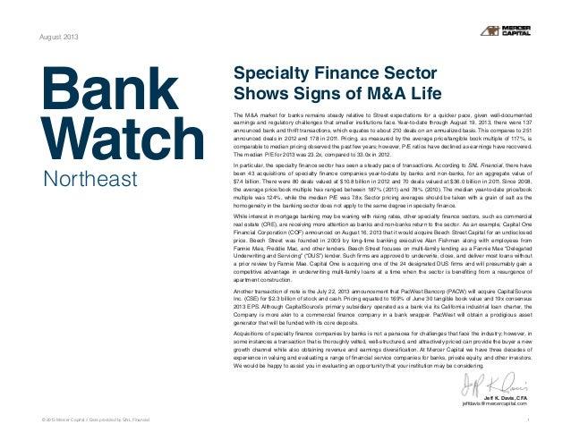 Mercer Capital's Northeast Bank Watch | August 2013