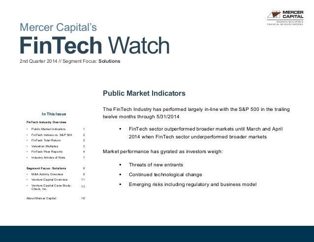 Mercer Capital's Value Focus: FinTech Industry   Quarter 2, 2014   Segment: Solutions
