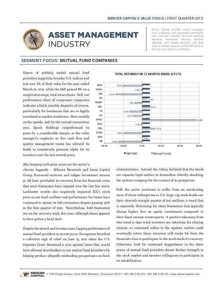 Mercer Capital's Asset Management Industry Newsletter   Q1 2012   Focus: Mutual Fund Companies