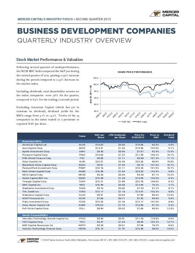 MERCER CAPITAL'S INDUSTRY FOCUS » SECOND QUARTER 2012BUSINESS DEVELOPMENT COMPANIESQUARTERLY INDUSTRY OVERVIEWStock Market...