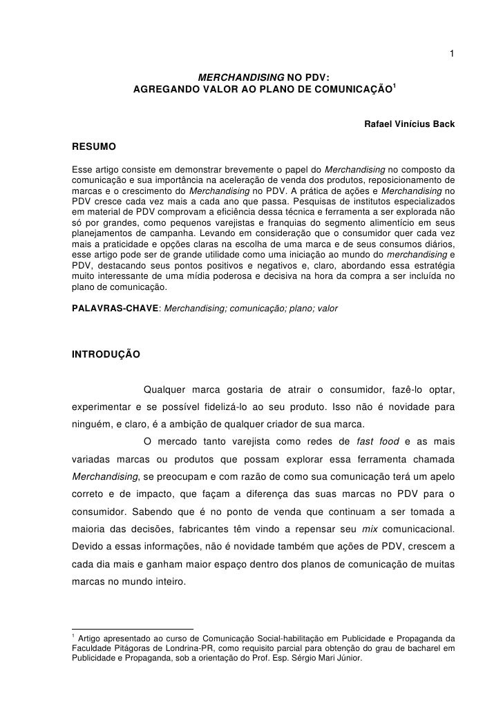 1                          MERCHANDISING NO PDV:                AGREGANDO VALOR AO PLANO DE COMUNICAÇÃO1                  ...