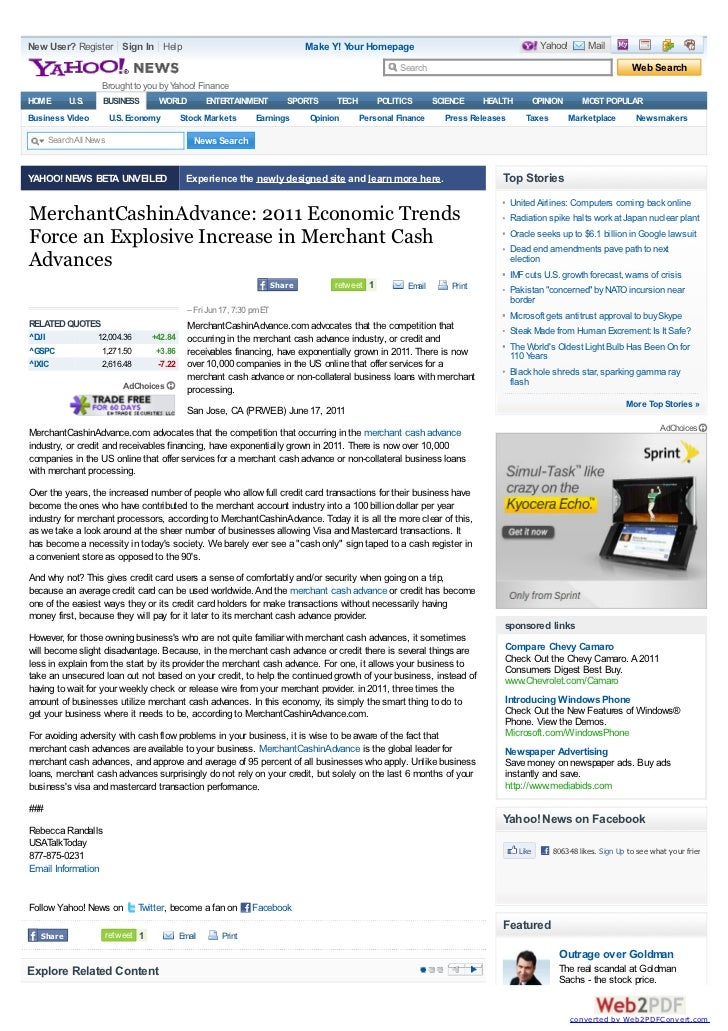 YahooNews on MerchantCashinAdvance: World Merchant Cash Advance Leader