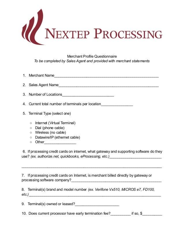 Merchant profile questionnaire