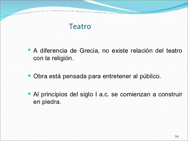 Baños Roma Obra De Teatro:teatro a diferencia de grecia no existe relación del teatro