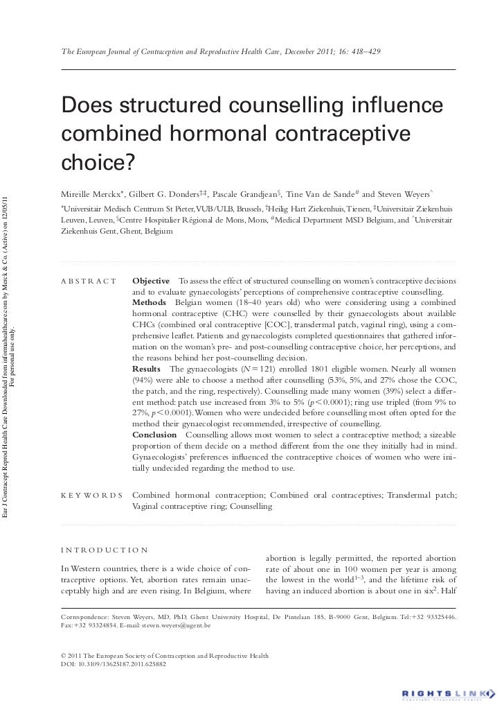 The European Journal of Contraception and Reproductive Health Care, December 2011; 16: 418–429                            ...