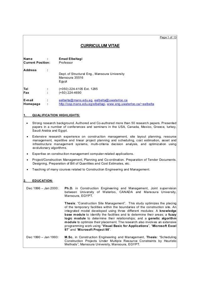 Page 1 of 13                                          CURRICULUM VITAEName           :            Emad ElbeltagiCurrent Po...