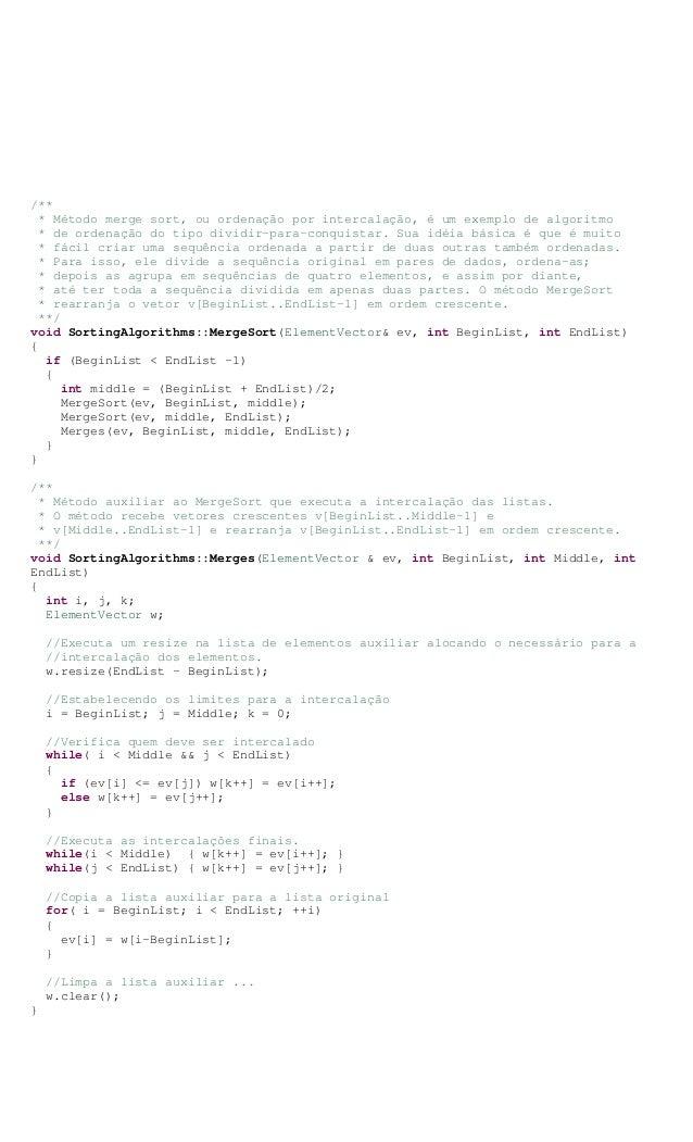 /** * Método merge sort, ou ordenação por intercalação, é um exemplo de algoritmo * de ordenação do tipo dividir-para-conq...