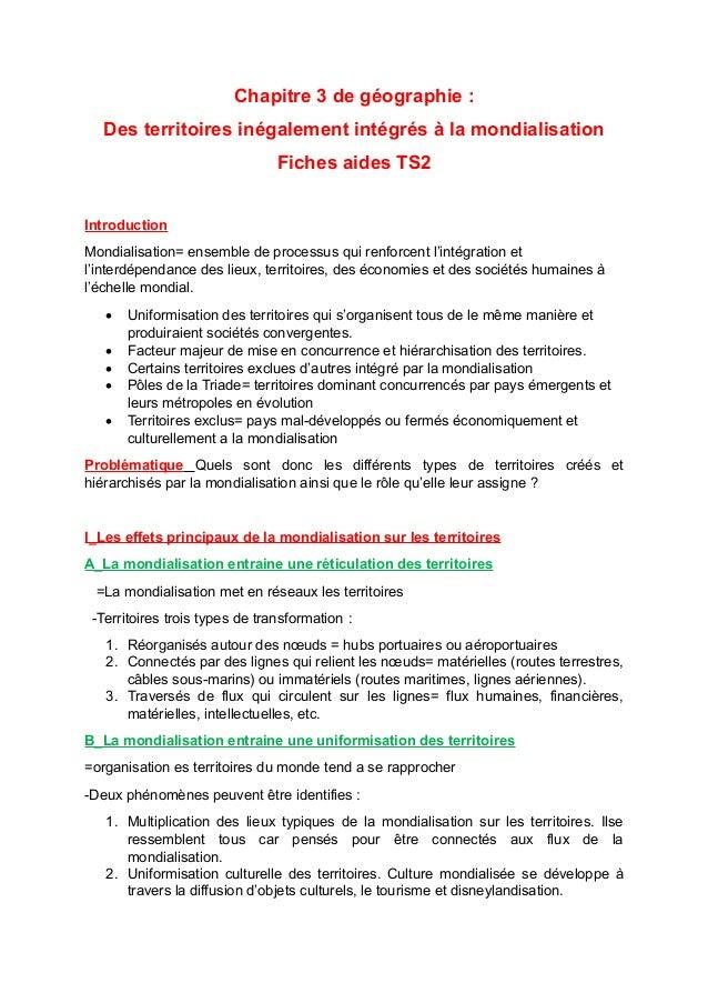 Chapitre 3 de géographie : Des territoires inégalement intégrés à la mondialisation Fiches aides TS2 Introduction Mondiali...