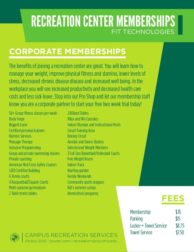 RECREATION CENTERFIT TECHNOLOGIES                                MEMBERSHIPSCORPORATE MEMBERSHIPSThe benefits of joining a...