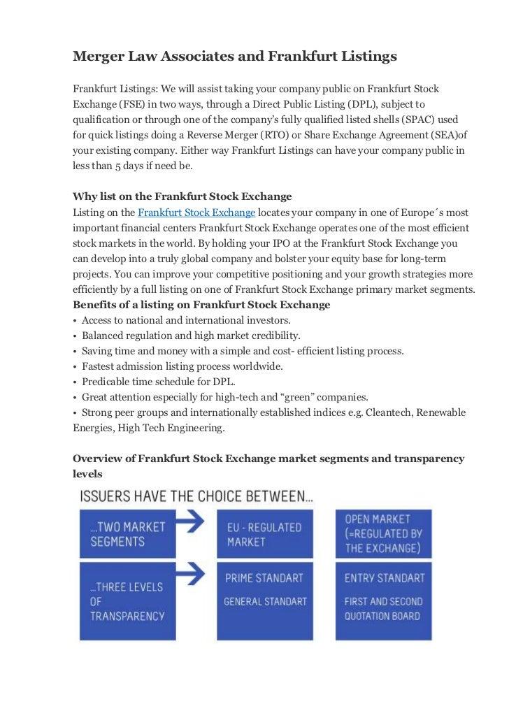 Merger Law Associates And Frankfurt Listings