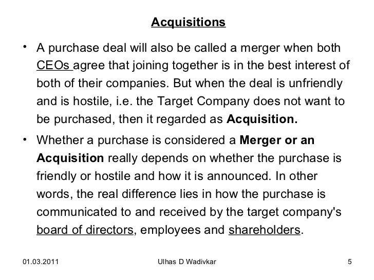 Merger and acquisition essay