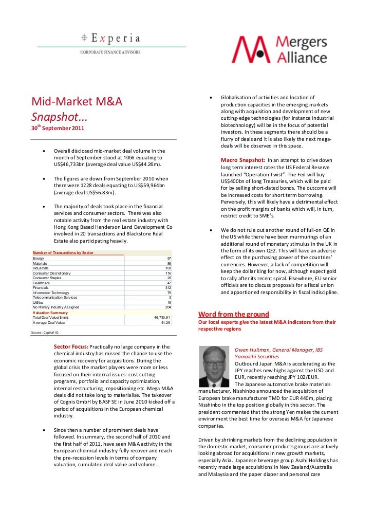 Mergers alliance newsletter 30 th sep 2011