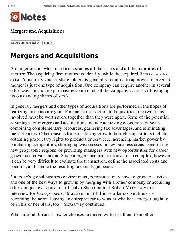 the merger process essay Assignment 1: lasa 2 – analysis of real merger/acquisition cases by the due date assigned, complete the following assignment and submit it to the.