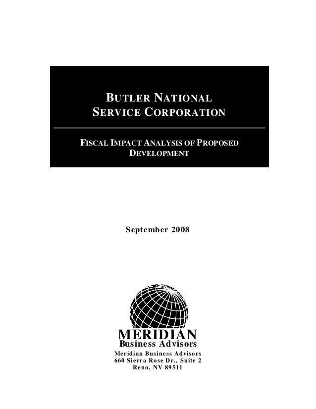 MERIDIAN Business Advisors September 2008 Meridian Business Advisors 660 Sierra Rose Dr., Suite 2 Reno, NV 89511 BUTLER NA...