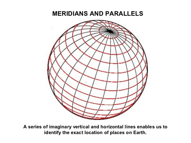 MERIDIANS AND PARALLELSA series of imaginary vertical and horizontal lines enables us to         identify the exact locati...