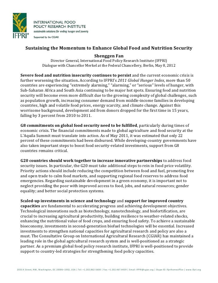 Sustaining the Momentum to Enhance Global Food and Nutrition Security                                                     ...