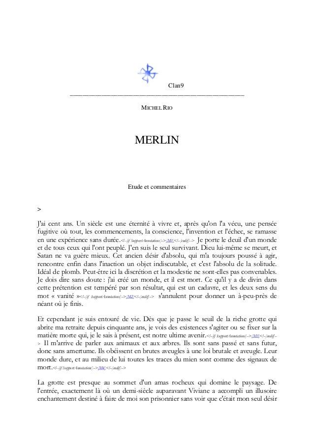 Clan9 _______________________________________________________ MICHEL RIO MERLIN Etude et commentaires > J'ai cent ans. Un ...